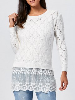 Lace Panel Hollow Out Argyle Ribbed Pullover Sweater - White Xl