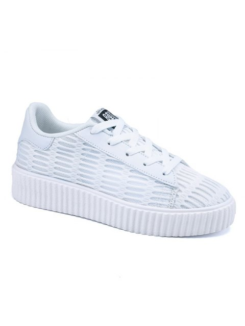 women Tie Up Mesh Breathable Athletic Shoes - WHITE 39 Mobile