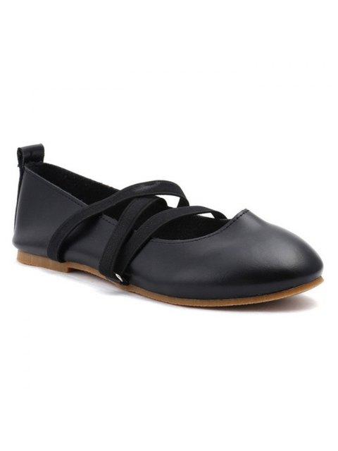 Chaussures plates en cuir élastique Faux Leather - Noir 38 Mobile