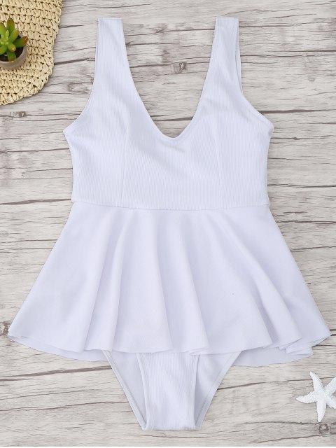 shop Ruffle Ribbed One Piece Swimwear - WHITE S Mobile