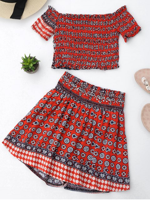 trendy Tribal Print Crop Top and Skorts Set - RED S Mobile