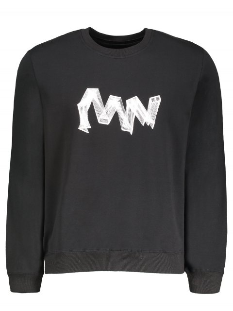 shops Crew Neck Graphic Pullover Sweatshirt - BLACK XL Mobile