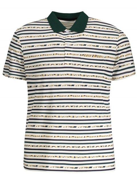 fashion Pocket Striped Polo Shirt - WHITE XL Mobile