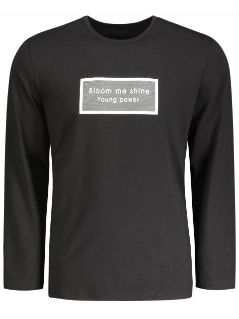 affordable Letter Graphic Long Sleeve T-shirt - BLACK L Mobile