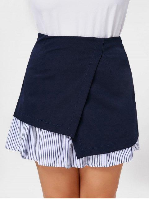 affordable Stripe Panel Plus Size Skirt - DEEP BLUE 2XL Mobile