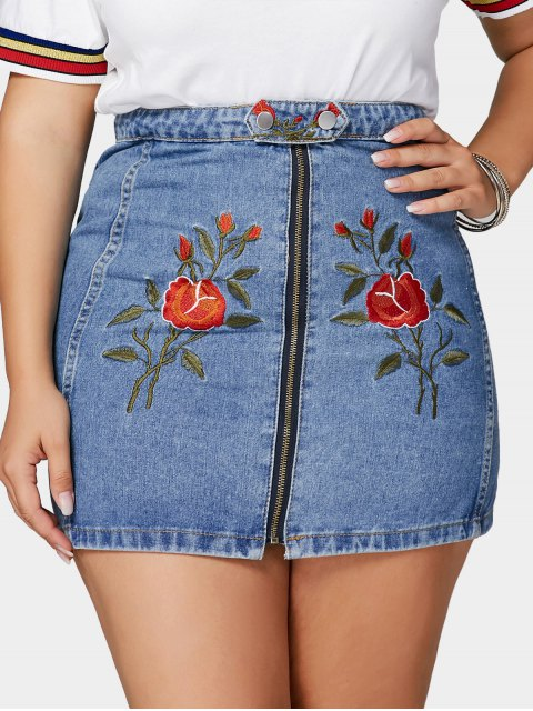 ladies Flower Embroidered Plus Size Denim Skirt - BLUE 3XL Mobile