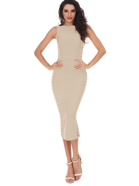 online Hollow Out Sleeveless Slit Bandage Dress - APRICOT S Mobile