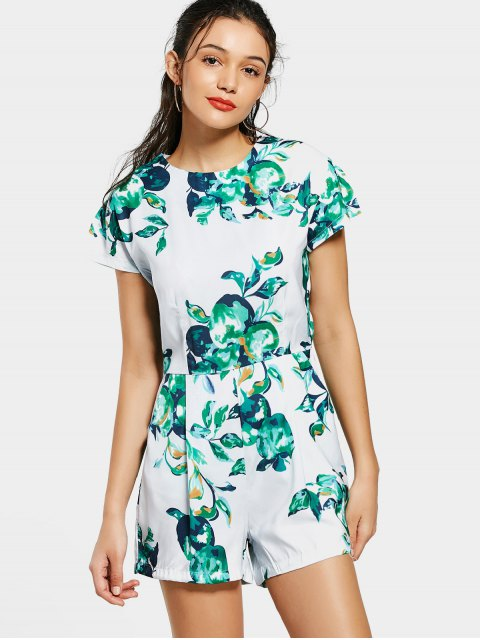 fancy Back Zip Fruit Print Romper - COLORMIX S Mobile
