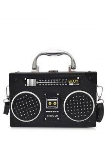حقيبة طويلة التمر بالجسم بجلد اصطناعي على شكل راديو - أسود