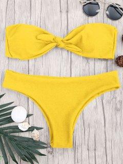 Padded Knotted Bandeau Bikini Set - Yellow M