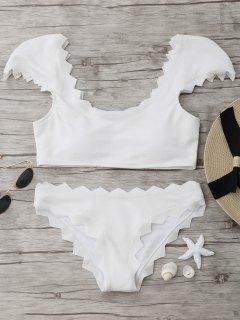 Textured Scalloped Bikini Set - White L