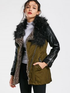 Color Block Faux Fur Collar Long Sleeve Coat - Army Green S