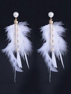 Faux Pearl Rhinestone Feather Drop Earrings - White