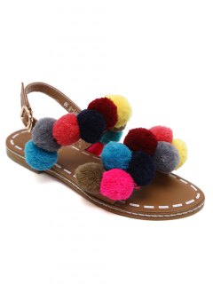 Roman Style Pom Pom Flat Sandals - Brown 41