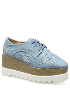 Denim Tie Up Star Pattern Wedge Shoes - Light Blue 38