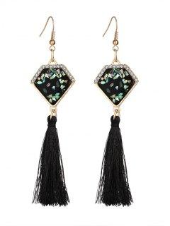 Faux Gem Tassel Geometric Hook Earrings - Black