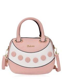 Textured Leather Color Block Handbag - Light Pink