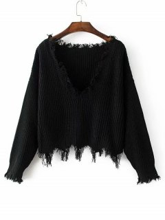 Loose Ripped V Neck Sweater - Black