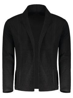 Shawl Collar Open Front Cardigan - Black M