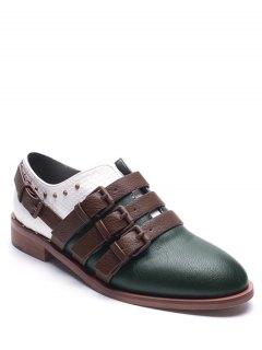 Buckle Straps Faux Leather Colour Block Flat Shoes - Green 39