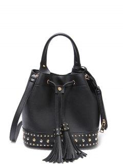 Drawstring Studded Tassels Handbag - Black
