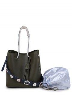 Tassels Flowers Faux Leather Handbag - Green