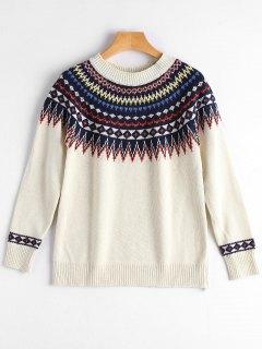 Crew Neck Graphic Pullover Sweater - Off-white