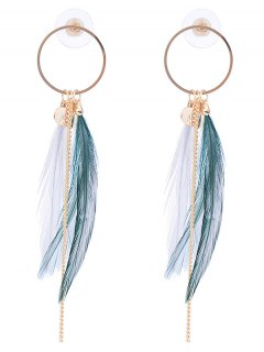 Link Chain Circle Natural Feather Drop Earrings - White And Green