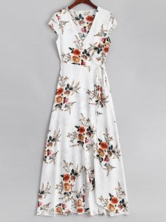 Floral Asymmetrical Wrap Maxi Dress - White M