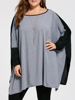 Plus Size Color Block Batwing Long Sleeve T-shirt - Gray Xl