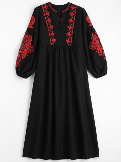 Puff Sleeve Floral Patched Tassels Dress - Black