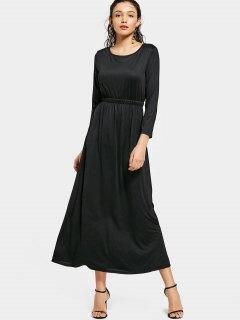 Round Collar Long Sleeve Maxi Dress - Black S