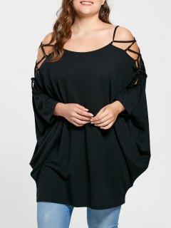 Plus Size Open Shoulder Baggy Top - Black 5xl