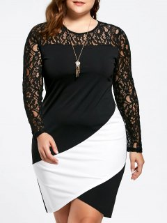Plus Size Lace Panel Asymmetric Long Sleeve Dress - White And Black 5xl