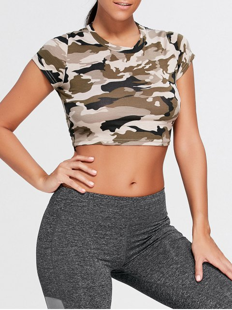 new Camouflage Ripped Crew Neck Crop T-shirt - ARMY GREEN CAMOUFLAGE S Mobile