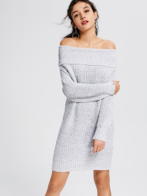 Light Gray Off The Shoulder Sweater Dress