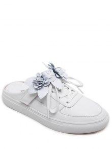 التعادل حتى فو الجلود الزهور الأحذية المسطحة - أبيض 38