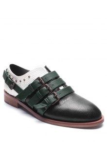 مشبك الأشرطة فو الجلود كتلة اللون الأحذية المسطحة - أسود 37