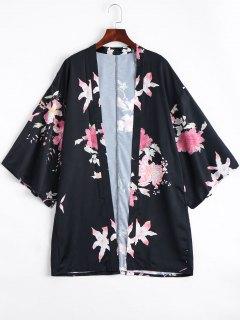 Open Front Flower Kimono Blouse - Floral S