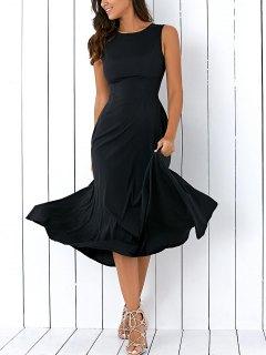 Sleeveless Round Neck Loose Fitting Midi Dress - Black M