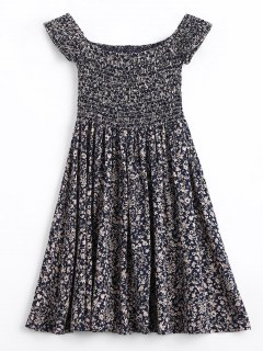 Tiny Floral Smocked Off Shoulder Mini Dress - Purplish Blue S