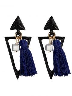 Metal Triangle Bohemian Tassel Earrings - Blue