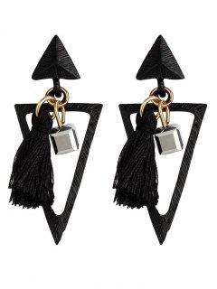 Metal Triangle Bohemian Tassel Earrings - Black