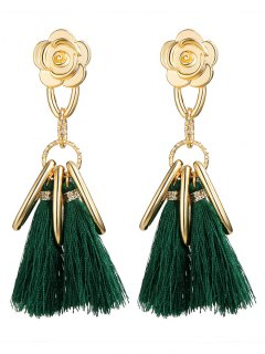 Alloy Flower Circle Tassel Vintage Earrings - Green