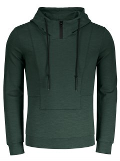 High Neck Pullover Hoodie - Army Green 2xl