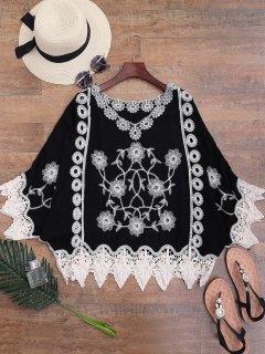 Crochet Trim Flower Brodé Cover-up - Noir