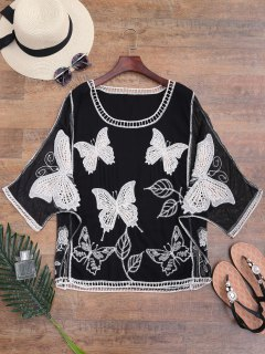 Mesh Panel Butterfly Embroidered Batwing Cover-up - Black