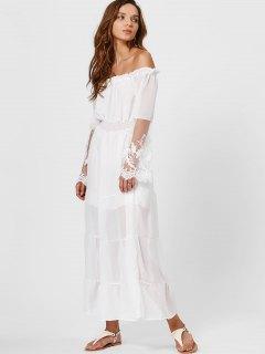 Ruffles Smocked Off Shoulder Maxi Sheer Dress - White L