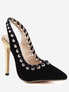 Slingback Pointed Toe Grommet Stiletto Heel Pumps - Black 40