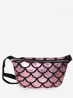 Zipper Scale Pattern Fanny Pack - Light Pink